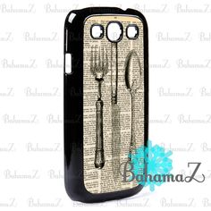 Vintage Fork Spoon and Knife Utensils Samsung Galaxy S3 I9300 Case | Bahamaz - Accessories on ArtFire
