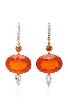 Sidney Garber ~ Orange Fire Opal Shimmers Earrings #vintagejewelry