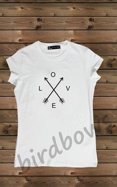 Women's T-shirt  Screenprinted Arrows love on a Bike by birdbows