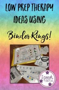 Low Prep Ideas using Binder Rings in Speech Therapy