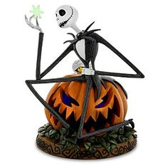 Disney Jack Skellington Halloween Figurine | Disney StoreJack Skellington Halloween Figurine - Jack Skellington is stargazing while under the gaze of Mummy Boy in this <i>The Nightmare Before Christmas</i> figurine. Finely detailed, the Pumpkin King seated on a light-up pumpkin $150