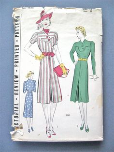 666ae710e68 1930s Pictorial Review Printed Pattern 9646 30s OnePiece Dress Pattern  Frock Vintage Sewing Pattern Bust 36 inches