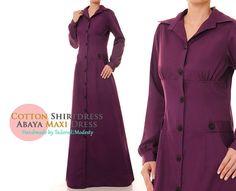 Purple Plum Cotton Button-Up Shirtdress Long by Tailored2Modesty