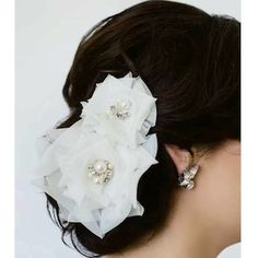 Sara Gabriel bridal hair flowers. Romantic, soft & airy organza hair flower set with pearl & crystal centers. Hair flowers at Perfect Details.