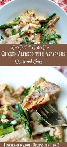 Quick and easy, low carb chicken Alfredo recipe is gluten free and has just 4.6 net carbs. Pure comfort food right here! Rich and delicious. Atkins friendly. From lowcarb-ology.com via @Marye at Restless Chipotle