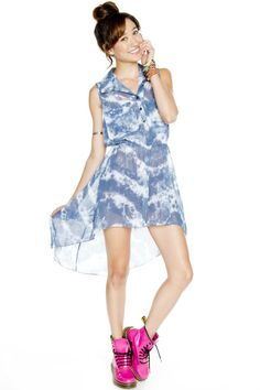 Tie-dye, high/low dress. Button up. Empire waist. Super cute! $20!!!!!!