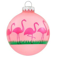 A Florida favorite! Exclusively crafted for Bronner's in Hungary, pretty pink flamingo birds hug the frosted pink glass with a stretch of grass.