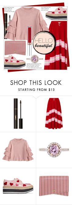 """""""LOVE IS IN THE AIR"""" by celine-diaz-1 ❤ liked on Polyvore featuring Yves Saint Laurent, Valentino, Prada, Giorgio Armani and Anastasia Beverly Hills"""