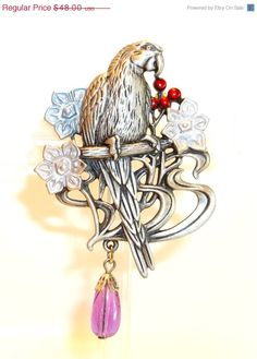 unique Parrot JJ pin brooch by dollherup on Etsy, $40.80