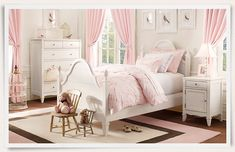 A bedroom for a young lady who loves Pink & White with a Queen Anne style furniture.