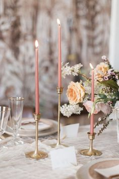 Lazy summer days get just a little bit better with this Southern peach wedding palette! A romantic combination of peach and pink shades perfectly suit the heat, especially for a sophisticated outdoor…MoreMore Candle Wedding Centerpieces, Gold Wedding Decorations, Gold Candles, Taper Candles, Ethereal Wedding, Wedding Table Settings, Forest Wedding, Spring Wedding, Wedding Flowers