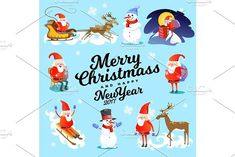 baby in hands of Santa Claus makes wish, man in red suit and beard with bag of gifts behind him climbs into chimney, sleigh reindeer harness drive Christmas mood, merry snowman vector illustration. Banner
