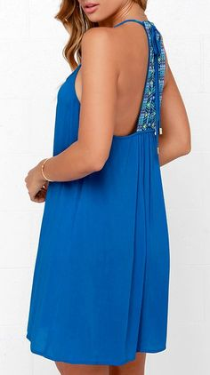 One part tropical and one part tribal, the Tiki Hut Embroidered Blue Dress is the casual dress of your dreams! Woven rayon shapes a curved neckline with gathering at the center. #lovelulus