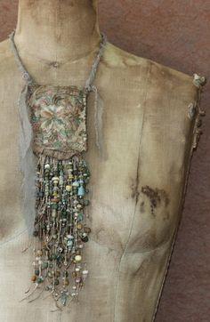 Minoan Nouveau Beadwork Pouch Pendant