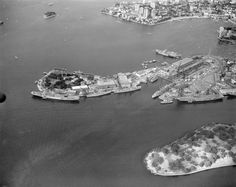 Garden Island naval base, Sydney, in the late or early 1970s, Sydney, Base, Celestial, Island, Places, Garden, Outdoor, Outdoors