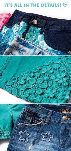 Eye-catching details make her fave shorts SHINE!