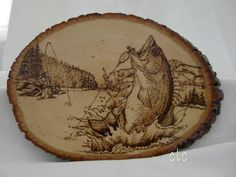 Wood burning - Bass jumping out - Original  design