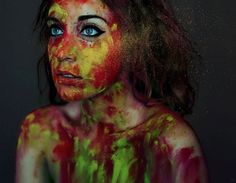 Colorful Self Portrait Photography by Lidia Vives Artistic Portrait Photography, Photography Backdrops, Creative Photography, Amazing Photography, Landscape Photography, Photography Ideas, Creative Portraits, Studio Portraits, Color Dust