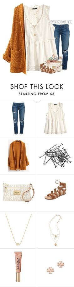 featuring Paige Denim, H&M, Michael Kors, Dolce Vita, Kendra Scott, Topshop, Too Faced Cosmetics and Tory Burch