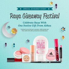 Salam Ramadan Kareem! Hari Raya is just around the corner and everyone is so excited with all the preparation for it. During Hari Raya everything must look beautiful and nice and a beautiful Baju Raya with a pale face is surely not so Raya-lah kan?Please don't forget to wear make up to enhance your natural beauty.  Raya Giveaway Festival (one gift per customer!)  In conjunction with this great celebration Althea are delightful to organize a Raya Giveaway Festival to ensure everyone can be…