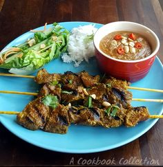 Beef Satay Skewers - A Cookbook Collection Inspired by Ping Coombes' book Malaysia  #satay #beefsatay #satayskewers #peanutdippingsauce #peanutsauce