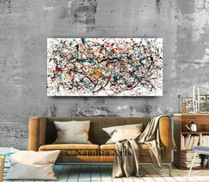 Jackson Pollock style painting available online for just $498.00 #AbstractArt #ModernArtPainting #AbstractArtforSale #Paintings #PaintingsforSale #PaintingsoOnline Modern Oil Painting, Modern Art Paintings, Your Paintings, Paintings For Sale, Oil Painting On Canvas, Original Paintings, Large Canvas Art, Large Wall Art, Abstract Art For Sale