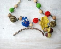 Nursing Necklace Owl Leaf Acorns   autumn by MiracleFromThreads