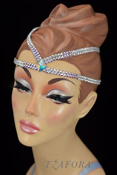 """Zelmira"" - Ballroom headband and ballroom jewelry made with Swarovski, available at www.tzafora.com © 2015 Tzafora. Handmade in Canada."