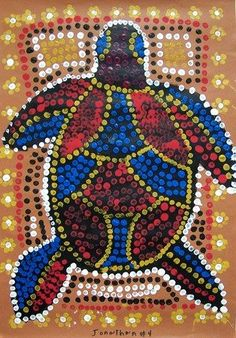 "From exhibit ""Aboriginal Art, Grade 4 - eraser dots mosaic - each child assigned a different color like the fingerprints"