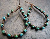 Paisley Shaped Copper Turquoise Beaded Earrings Picasso