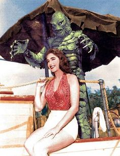 Creature from the Black Lagoon Ben Chapman julie adams color Classic Sci Fi, Classic Horror Movies, Classic Films, Horror Icons, Horror Art, Julie Adams, Marvel Dc, Famous Monsters, Pulp