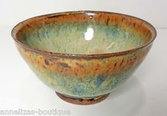 Hadnmade wheel-thrown ceramic art bowl, blue, cream, brown speckles, 3 in. ht.