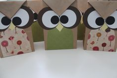 Owl party treat bags. Made from brown paper bags and scrapbooking paper cutouts.