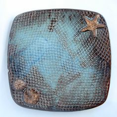 Square Serving plate with sea inspired design Made to by WisperOn