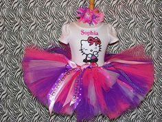 Dress #2 Girls Hello Kitty Birthday Pink, Purple and White Tutu