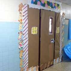 Gingerbread house with your classroom door! Each student made their own Gingerbread man