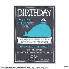 Nautical Whale Chalkboard 1st Birthday Invitation