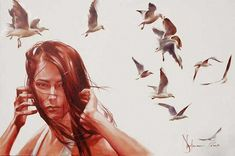 By © Igor Andrianov Shulman Contemporary Artists, Modern Art, Watercolor Portraits, Watercolour, Woman Painting, Face Art, Figurative Art, Art Google, Art Images