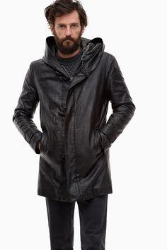 Long Eco-Leather Anorak With Hood - Winter Garnet   Adolfo Dominguez shop online