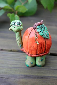 Pumpkin Turtle Polymer Clay Sculpture by mirandascritters on Etsy, $28.99