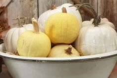 Love pumpkins in a simple bowl (from Sugar Pie Farmhouse)