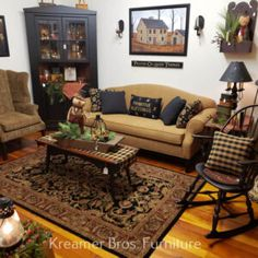Country Style Furniture, Country Style Living Room, Country Decor, Primitive Home Decorating, Primitive Decor, Primitive Homes, Prim Decor, Primitive Furniture, Primitive Living Room
