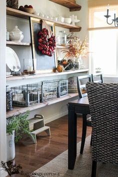Fall Home Tour by The Wood Grain Cottage  old metal milk crates with linens.