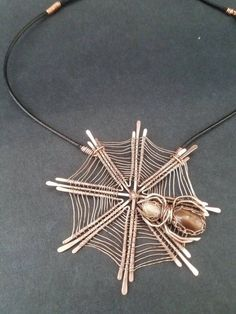 beautiful spiderweb and spider wire wrapped necklace