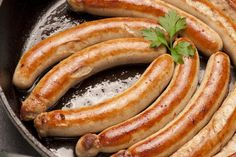 Bamberger Bratwurst, in der Pfanne gebraten