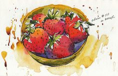 bowl of strawberries by Jennifer Lawson
