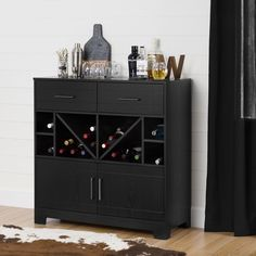 South Shore Vietti Bar Cabinet with Bottle Storage and Drawers (Black Oak), South Shore Furniture Open Shelving, Shelves, Armoire Bar, Wine And Liquor, Liquor Bottles, Liquor Bar, Beer Bar, Sideboard Cabinet, Wine Cabinets