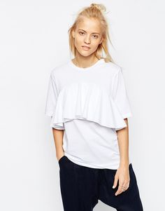 WHITE Frill Detail T-Shirt