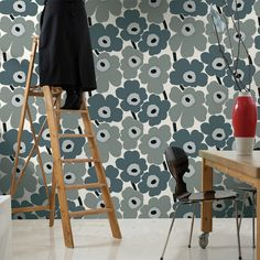 Marimekko Unikko Beige Wallpaper We are sorry but this item is sold out and no longer available. Paint your walls with flowers with a little help from some Marimekko Unikko wallpaper. Marimekko Wallpaper, Beige Wallpaper, Vinyl Wallpaper, Wallpaper Online, Flower Wallpaper, Scandinavia Design, Contemporary Wallpaper, Interior Design Companies, All Modern
