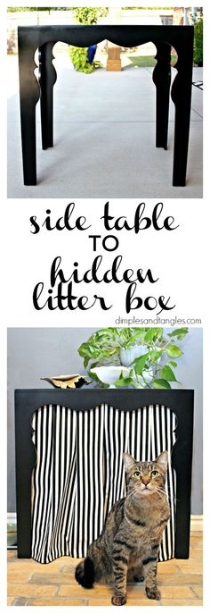 The litter box has been the thorn in my decorating side for years, and I can't believe I didn't come up with this idea to hide it sooner!...